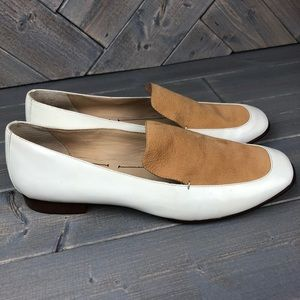 Elizabeth and James E Cassie White Leather Flats